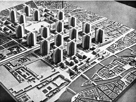 Plan de Le Corbusier para la reconstrucción de París.